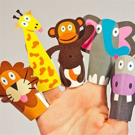 jungle animals paper finger puppets printable  toy