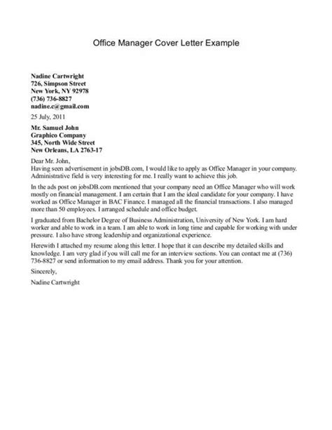 Cover Letter For Front Desk Manager by Cover Letter For Office Manager Sle Letter Resume