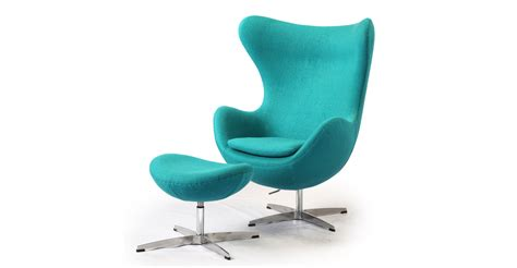 egg chair ottoman turquoise boucle wool