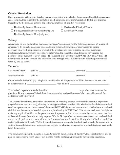 california room rental agreement printable