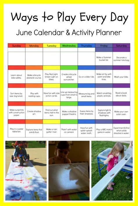june preschool activity calendar printable  preschool
