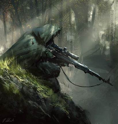Rifle Scope Cape Painting Holding Person Sniper