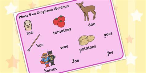 Phase 5 Oe Grapheme Word Mat  Phase Five, Graphemes, Literacy