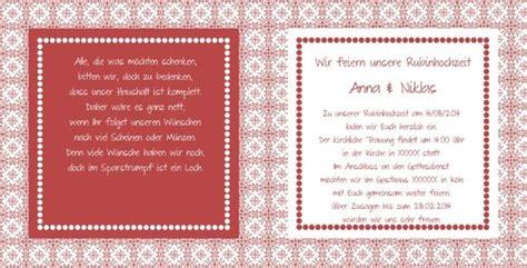 einladung rubinhochzeit im lanhausstil  rot