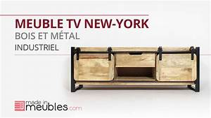 meuble tv industriel bois metal new york grand modele With meuble metal