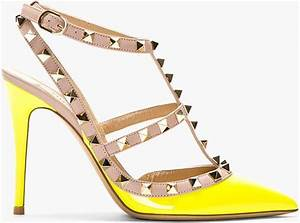 Valentino Neon Yellow Patent Rockstud Strapped Heels in