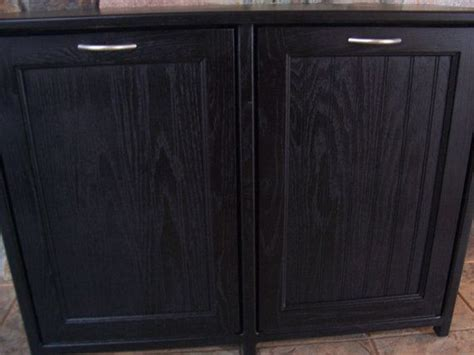 double trash can cabinet new black painted wood double trash bin cabinet garbage