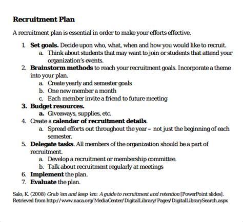 recruitment plan template 10 recruiting plan templates sle templates