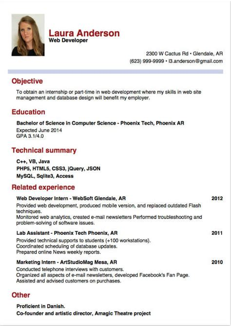 Resume For Internship by A Sle Resume For Internship