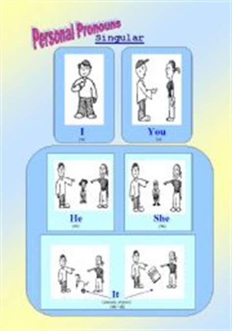 English Worksheets Personal (subject) Pronouns  Classroom Poster Or Flashcards