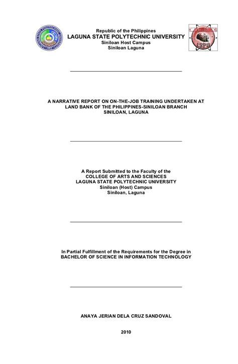 bsit narrative report format