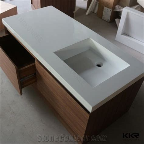 table top vanity most popular best quality solid surface corian sink wall