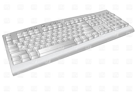 White Computer Keyboard Vector Image #34322