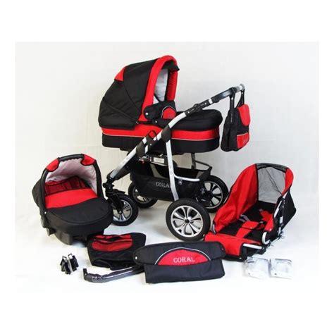 siège auto pour bébé poussette trio coral et noir poussette bébé 3 en 1