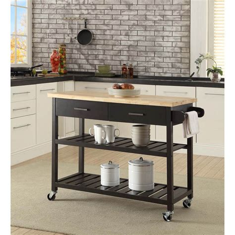 Kitchen Island Trolley With Open Shelves  Black  Buy