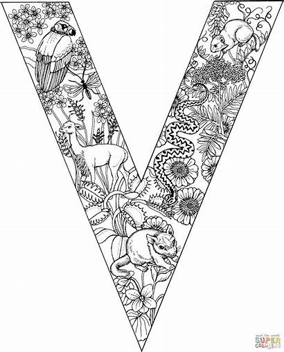 Letter Coloring Pages Alphabet Letters Animal Adult