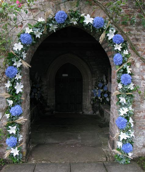 The Church Door Can Be Decorated With A Garland Of