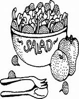 Salad Coloring Fruit Bowl Printable Pages Drawing Template Getdrawings Sketch Sheets Bowls Salads Adult Printables Google sketch template