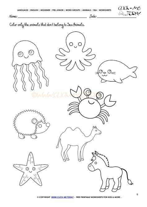 sea animals worksheets for preschoolers sea animals worksheet activity sheet color 6 614