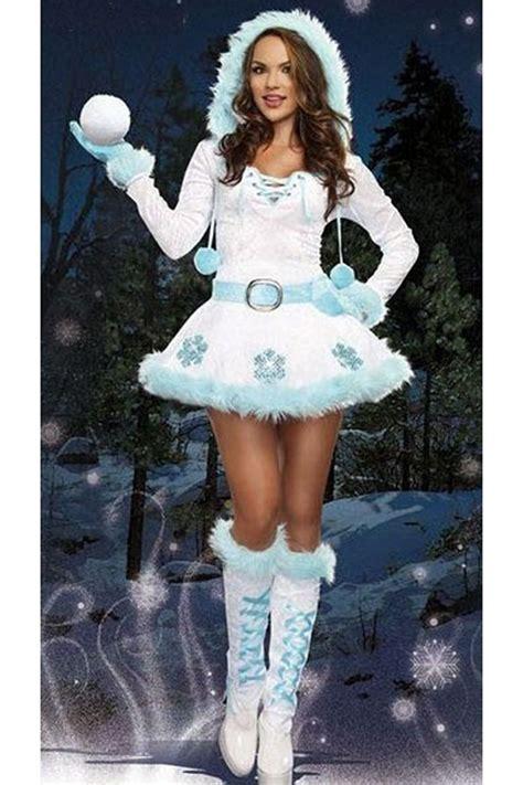 womens pretty hooded long sleeve snowman christmas costume