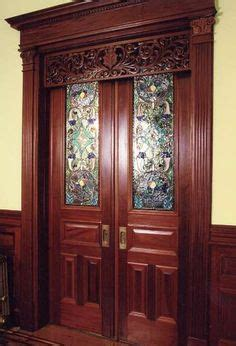 stained glass pocket doors   guest room