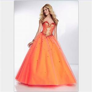 sequin sweetheart tulle ball gown prom dresses sweet 16 With robe de soirée orange