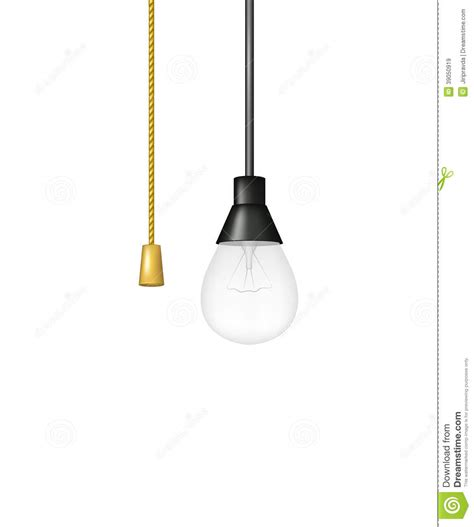 hanging light bulb with cord switch stock vector image