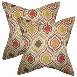 The, Pillow, Collection, Set, Of, 2, Xylon, Geometric, Throw, Pillows, In, Orange, -, Walmart, Com