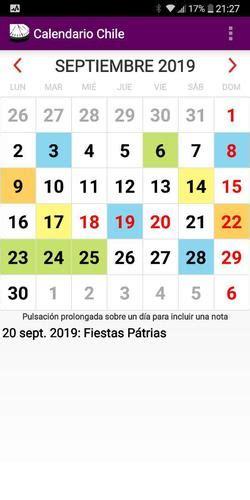 calendario feriados nacionales en chile