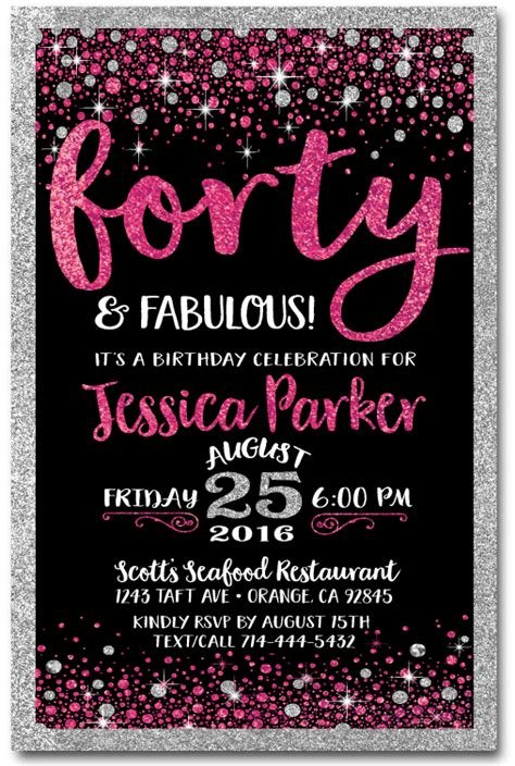 Pink & Black Forty and Fabulous 40th Birthday Invitations