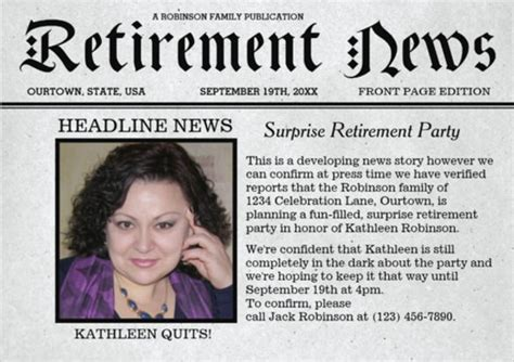 free retirement flyer template word 9 newspaper front page template free word ppt eps documents free premium