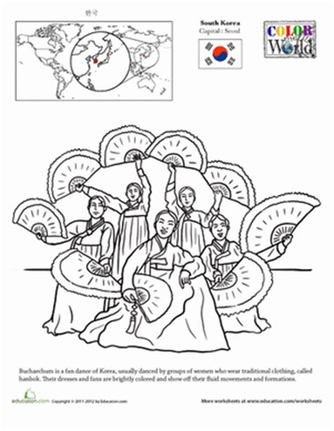color  world south korea worksheet educationcom
