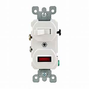 Leviton 1  25w-125v Combination Switch With Neon Pilot Light  White-r52-05226-0ws