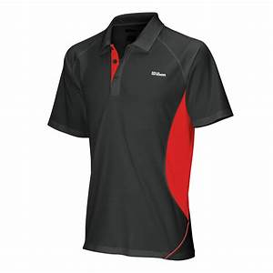 Wilson Performance - Mens Tennis Polo Shirt - Black/Red ...