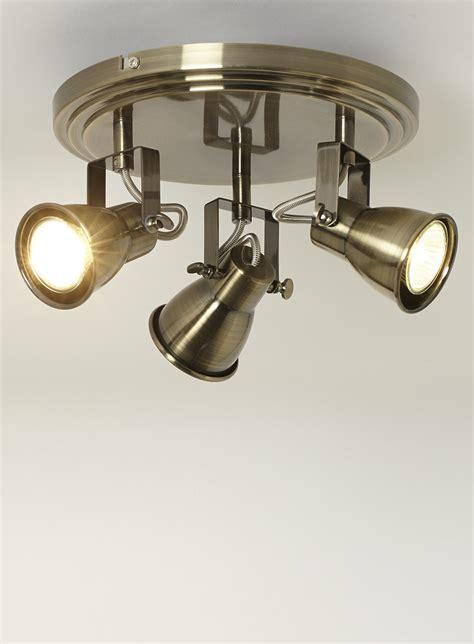 vintage style antique brass 3 way ceiling spot light