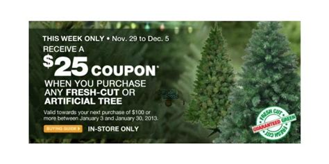 christmas tree coupons home depot home depot get a 25 coupon w tree purchase