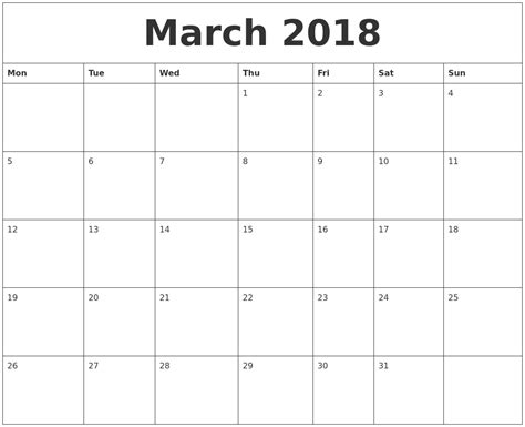 Blank Monthly Calendar Template March 2018 Blank Monthly Calendar Template