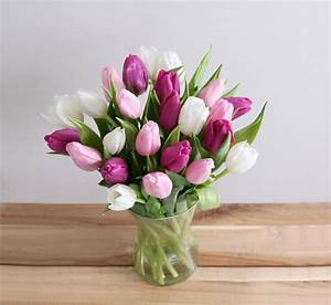 24 Mixed Tulips Bouquet - • 8 White Tulip • 8 Pink Tulip ...