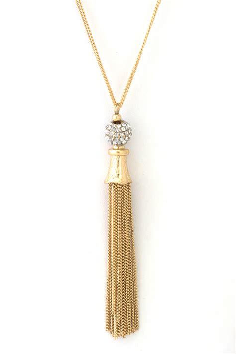 gold necklace for pave tassel necklace necklaces