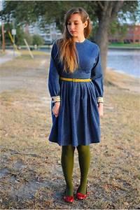 Navy Denim Vintage Dresses Olive Green Worthington Tights | u0026quot;Dash of Coloru0026quot; by DailyFashionista ...
