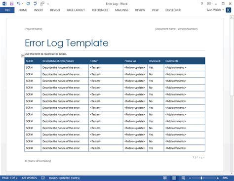 error log template ms word software testing