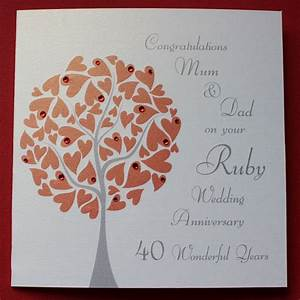 personalised ruby wedding anniversary card gbp275 ruby With images of ruby wedding anniversary cards