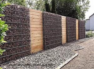 Mur De Cloture En Gabion : cloture gabion et bois am nagement ext rieur pinterest ~ Edinachiropracticcenter.com Idées de Décoration