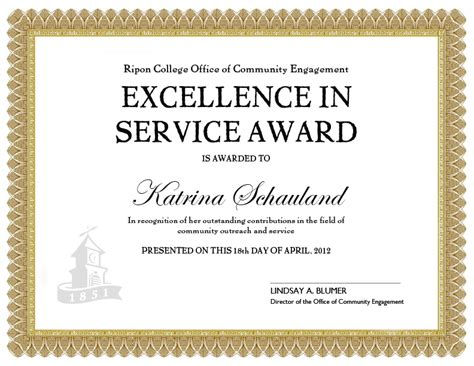 certificate  long service award template