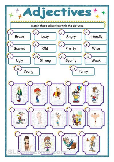 esl adjectives worksheet worksheets for all and
