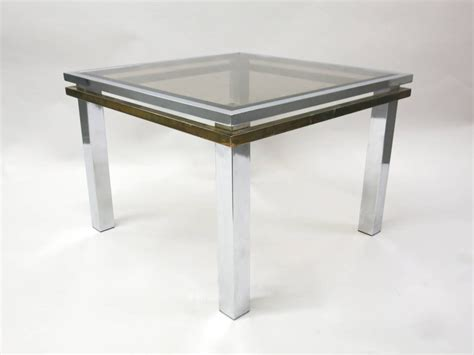 square brass side table pair of square side tables in chrome and brass circa 1970