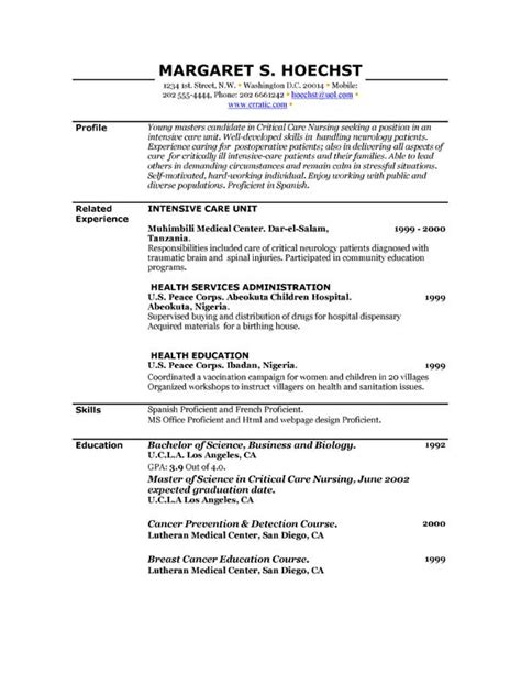 Exles Of Resume Templates by Exles Of Resume