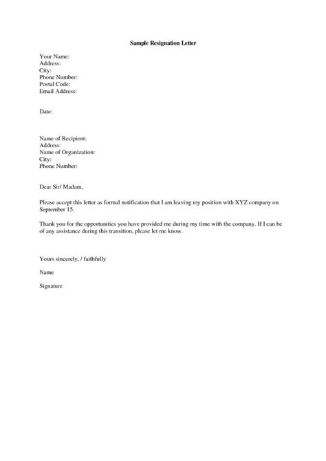 resignation letter format after handing generic
