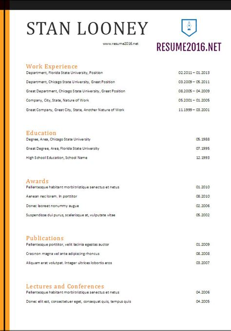 resume format 2017 20 free word templates
