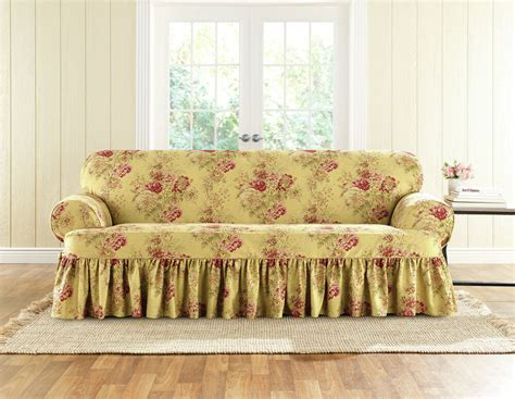 Loveseat T Cushion Slipcovers by Sure Fit Ballad Bouquet Sofa Skirted T Cushion Slipcover